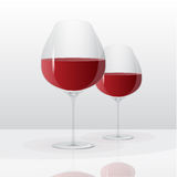 Стекла вектора с красным вином стоковое фото rf