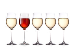 Стекла вина изолированные на белой предпосылке Стоковая Фотография RF
