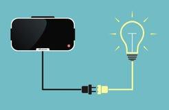 Стекла виртуальной реальности соединенные к электрической лампочке Стоковые Изображения RF