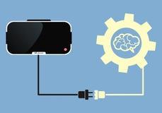 Стекла виртуальной реальности соединяются к мозгу Стоковое Фото