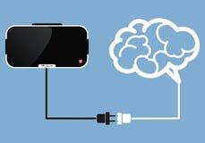 Стекла виртуальной реальности соединяются к мозгу Стоковое Изображение
