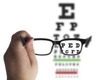 Стекла глаза на диаграмме испытания зрения Стоковое Изображение