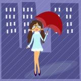 Стекла девушки нося с зонтиком Стоковая Фотография RF