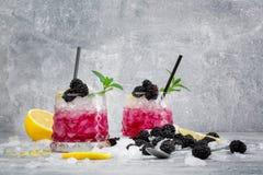2 стекла ледистых коктеилей Холодное питье ягоды Напитки с мятой, цитроном лимона и ежевиками на замороженной белизне Стоковое фото RF