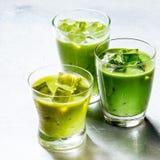 3 стекла здоровых зеленых встряхиваний Smoothie Стоковые Фотографии RF