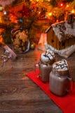 2 стекла какао с взбитым сиропом сливк и шоколада на деревянном столе и доме пряника, копилке и Стоковая Фотография RF