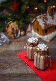 2 стекла какао с зефирами, взбитым сиропом сливк и шоколада на деревянном столе и доме пряника, печенье Стоковые Фото
