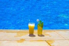 Стекла коктеиля плодоовощ на бассейне Стоковые Фотографии RF