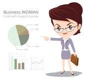 Стекла костюма юбки характера бизнес-леди Стоковое Фото