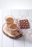 2 стекла кофе и солом Стоковое фото RF