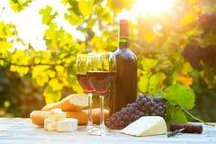 2 стекла красного вина и бутылки Стоковая Фотография