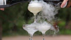 Стекла курить шампанского стекла обрамленные шампанским горизонтально сняли Дым вздымаясь над каннелюрой Шампани Ресторанное обсл видеоматериал