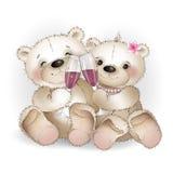 2 стекла медведя любовников выпивая вина Стоковые Изображения