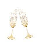 стекла обрамленные шампанским горизонтально сняли Торжество золотой свадьбы Стоковое фото RF