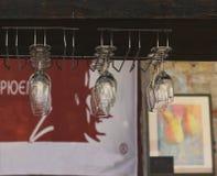стекла обрамленные шампанским горизонтально сняли Стоковая Фотография RF