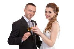 стекла пар шампанского wedding Стоковые Изображения