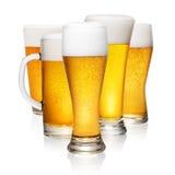 Стекла пива на белизне Стоковая Фотография RF