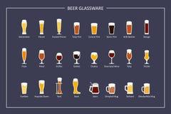 Стекла пива печатают гида, плоских значков на темной предпосылке Горизонтальная ориентация вектор Стоковое Фото