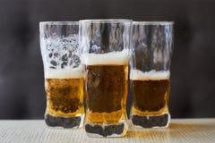 3 стекла светлого пива Стоковое фото RF