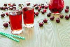 2 стекла сока вишни и пустого космоса Стоковая Фотография