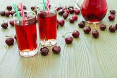 2 стекла сока вишни и пустого космоса Стоковые Фотографии RF