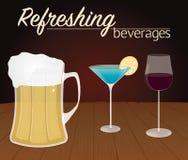 Стекла с алкогольными напитками на древесине Стоковое Изображение