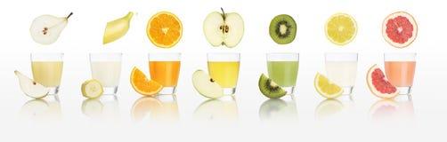 Стекла фруктового сока изолированные на белой предпосылке, концепции диеты Стоковые Изображения RF