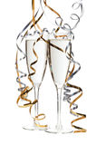 2 стекла шампанского изолированного на белизне Стоковая Фотография RF