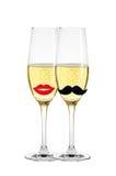 2 стекла шампанского изолированного на белизне Стоковое фото RF