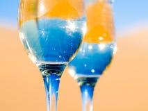 2 стекла шампанского на пустыне Стоковое Изображение