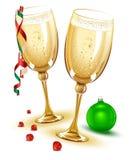 стекла 2 шампанского Новый Год 2009 канунов иллюстрация вектора