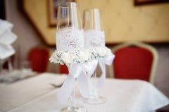 Стекла шампанского свадьбы Стоковые Фотографии RF