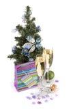 Стекла Шампань, firtree и декор рождества Стоковая Фотография