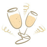 Стекла Champagner - Новые Годы Eve - с Рождеством Христовым Стоковые Изображения RF
