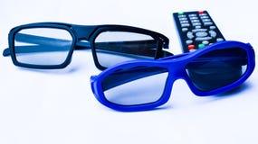 стекла 3D и дистанционное управление Стоковые Фото