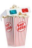 стекла 3D na górze коробки попкорна Стоковая Фотография