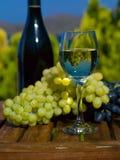 Стекло белого вина, бутылки и виноградин на деревянном столе Стоковая Фотография