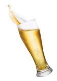 Стекло брызгать пиво Стоковые Изображения RF