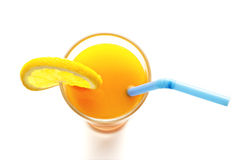 Стекло взгляд сверху апельсинового сока на белой предпосылке стоковое изображение rf