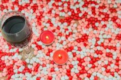 Стекло вина и свечек Стоковое Изображение