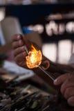 стекло воздуходувки нагрюет делать оригинал вверх Стоковая Фотография RF
