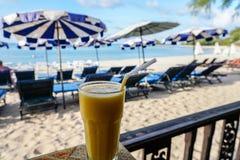 Стекло встряхивания манго с видом на море Стоковые Изображения