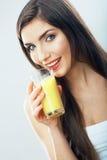 Стекло владением женщины с апельсиновым соком Стоковые Фото