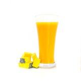 Стекло желтых сока тыквы и тыквы Стоковые Изображения