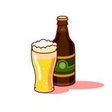Стекло и бутылка пива Стоковые Изображения