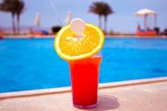 Стекло коктеиля плодоовощ на бассейне Стоковые Изображения RF
