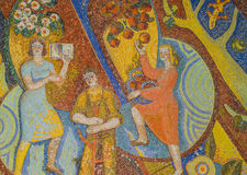 Стекло мозаики искусства или безшовная стеклянная мозаика на стене стоковое изображение rf