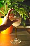 Стекло молока на таблице в свете вечера Стоковые Изображения RF
