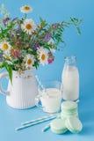 Стекло молока с striped соломой и macaroons Стоковые Фото