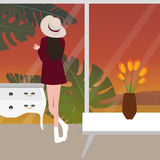 Стекло окна девушки женщины женское смотря от заднего нося захода солнца шляпы Стоковое фото RF